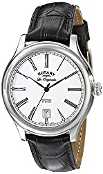 Rotary Unisex le90008/01 Stainless Steel Automatic Watch with Black Leather Band