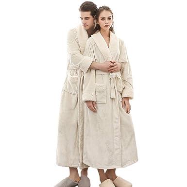 ea08118b90b91 Peignoir De Luxe Robe Longue Section Femme Fluff ÉPaissir Solid Couleur  Unie Pyjamas Deux Poches Ceinture Salle De Bain Bathrobe 5 Couleurs 3  Tailles: ...