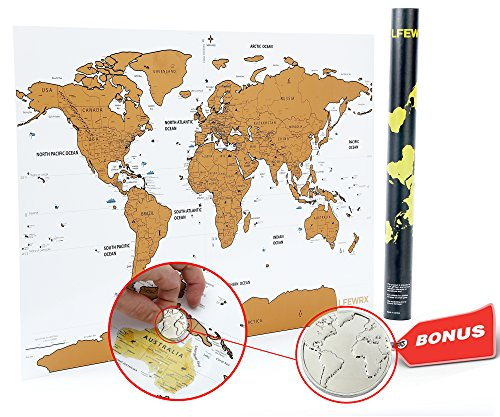 scratch off world map poster w bonus collectible coin deluxe quality travel tracker use as a journal or globe great travel gift idea reveal the gold