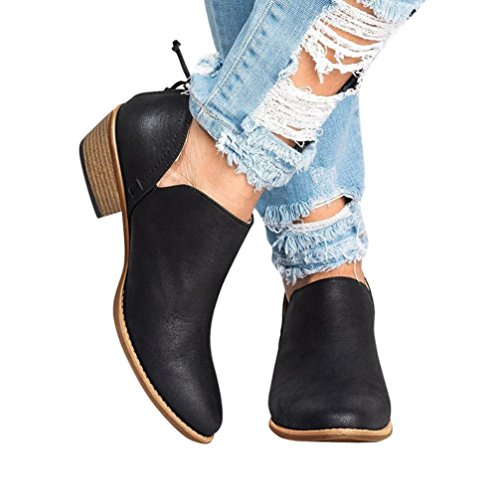 Flat Shoes Shoes Womens (Hot!Todaies Women Autumn Shoes Fashion Ankle Solid Leather Shoes Ladies Short Boots (US:8, Black))