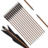 PG1ARCHERY Archery Bamboo Arrows, 32 inch Traditional Hunting Practice Target Arrow 5'' Turkey Feathers Fletching for Recurve Bow Longbow Black(Pack of 12)