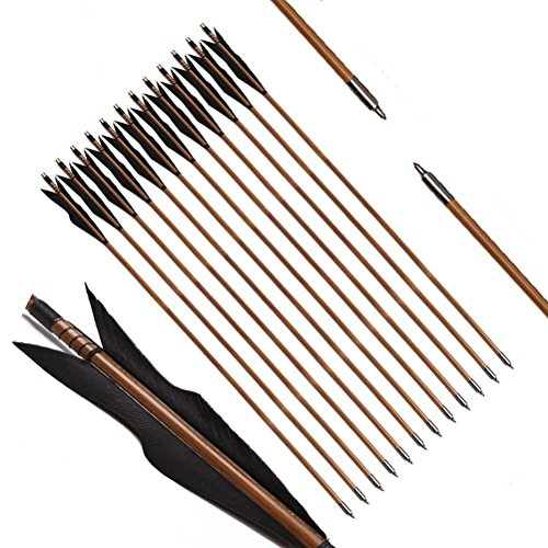 PG1ARCHERY Archery Bamboo Arrows, 32 inch Traditional Hunting Practice Target Arrow 5