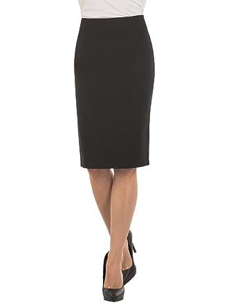 6abe6b0620 Velucci Womens High Waist Pencil Skirt - Knee High - Zipper - Back Slit,  Black
