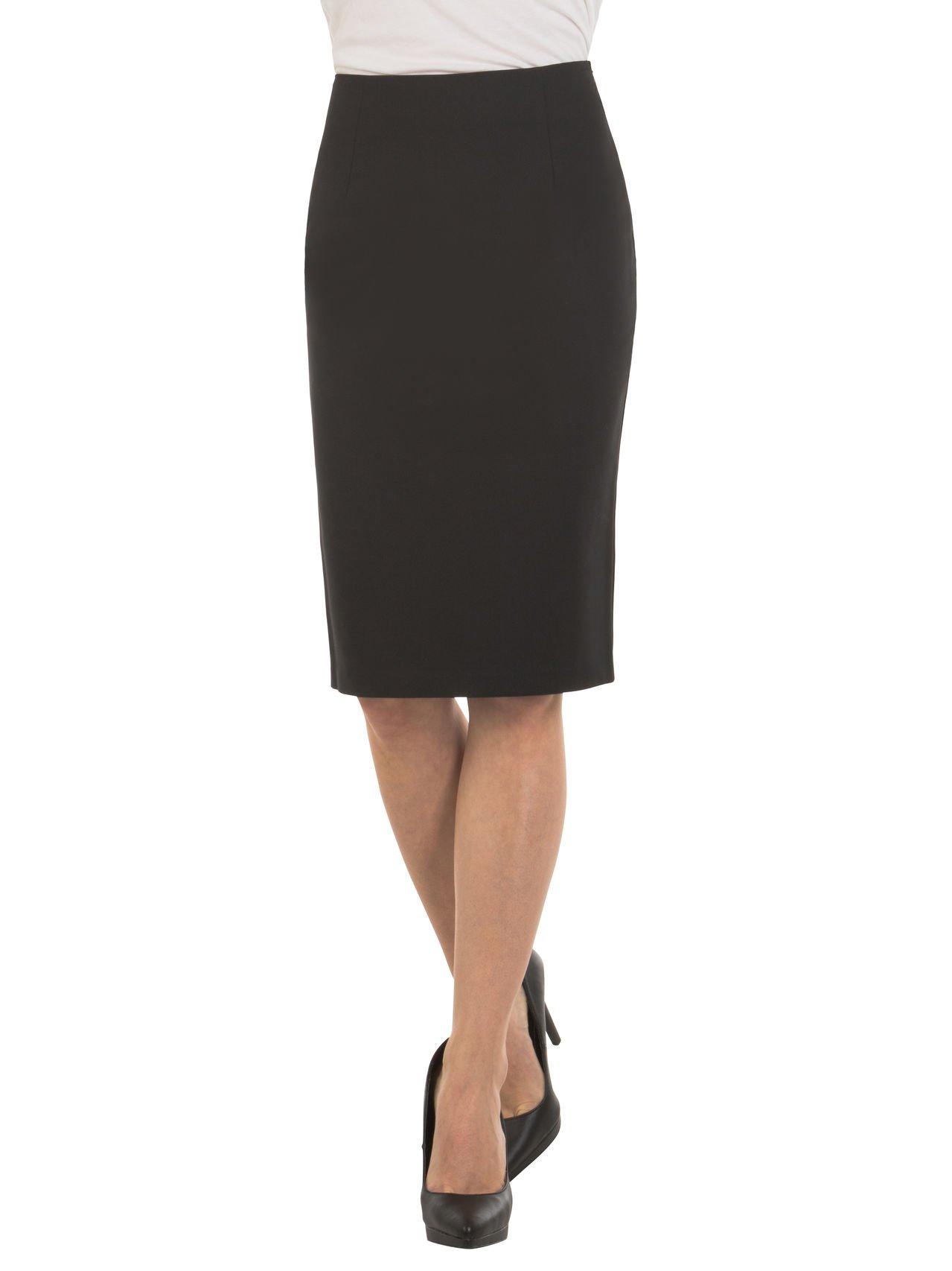Velucci Womens High Waist Pencil Skirt - Knee High - Zipper - Back Slit, Black-L