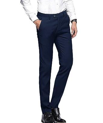 Pantalones Traje Mens Straight Tube Formal Business Stretch ...