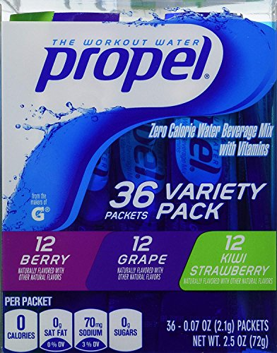 Propel Zero Calorie Nutrient Enhanced Water Beverage Mix (36 packets) 3 different flavors (berry, grape & kiwi strawberry)2 PACK