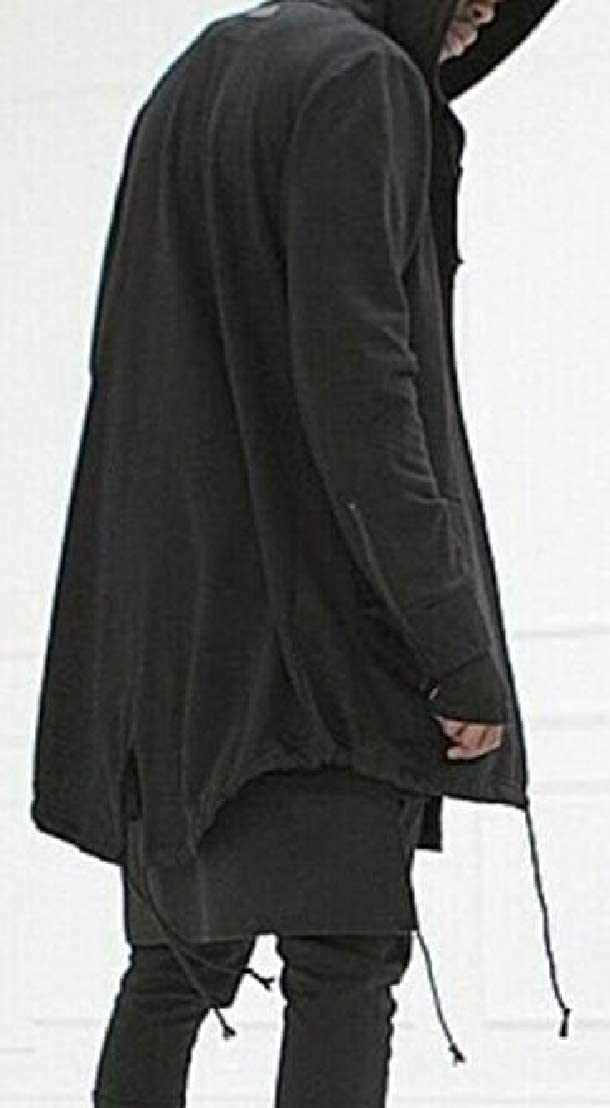Generic Mens Jacket Hoodie Stylish Split Cardigan Solid Long Sleeve Mid Long Trench Coat