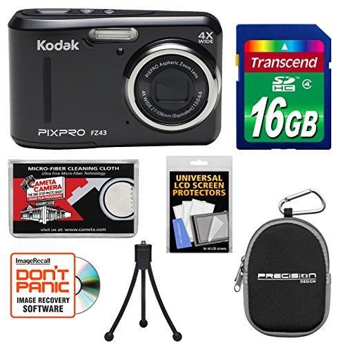 KODAK PIXPRO Friendly Zoom FZ43 Digital Camera (Black) with 16GB Card + Case + Tripod + Kit