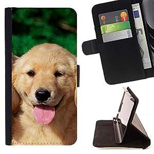 KingStore / Leather Etui en cuir / Sony Xperia Z3 Compact / Labrador Retriever Cachorro de perro amarillo Lengua
