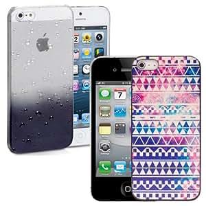 Nuevos 2 piezas funda transparentes gotas de lluvia y Aztec ultra delgado Cover Por iPhone 5s -Negra / Retro Aztec & Screen Protector & Stylus