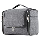 Extra Large Capacity Hanging Toiletry Bag for Men & Women, Portable Waterproof Bathroom Shower Bag, Lightweight Dopp kit Shaving Bag, Sturdy Metal Hook Organizer Makeup Bag (Denim Gray)