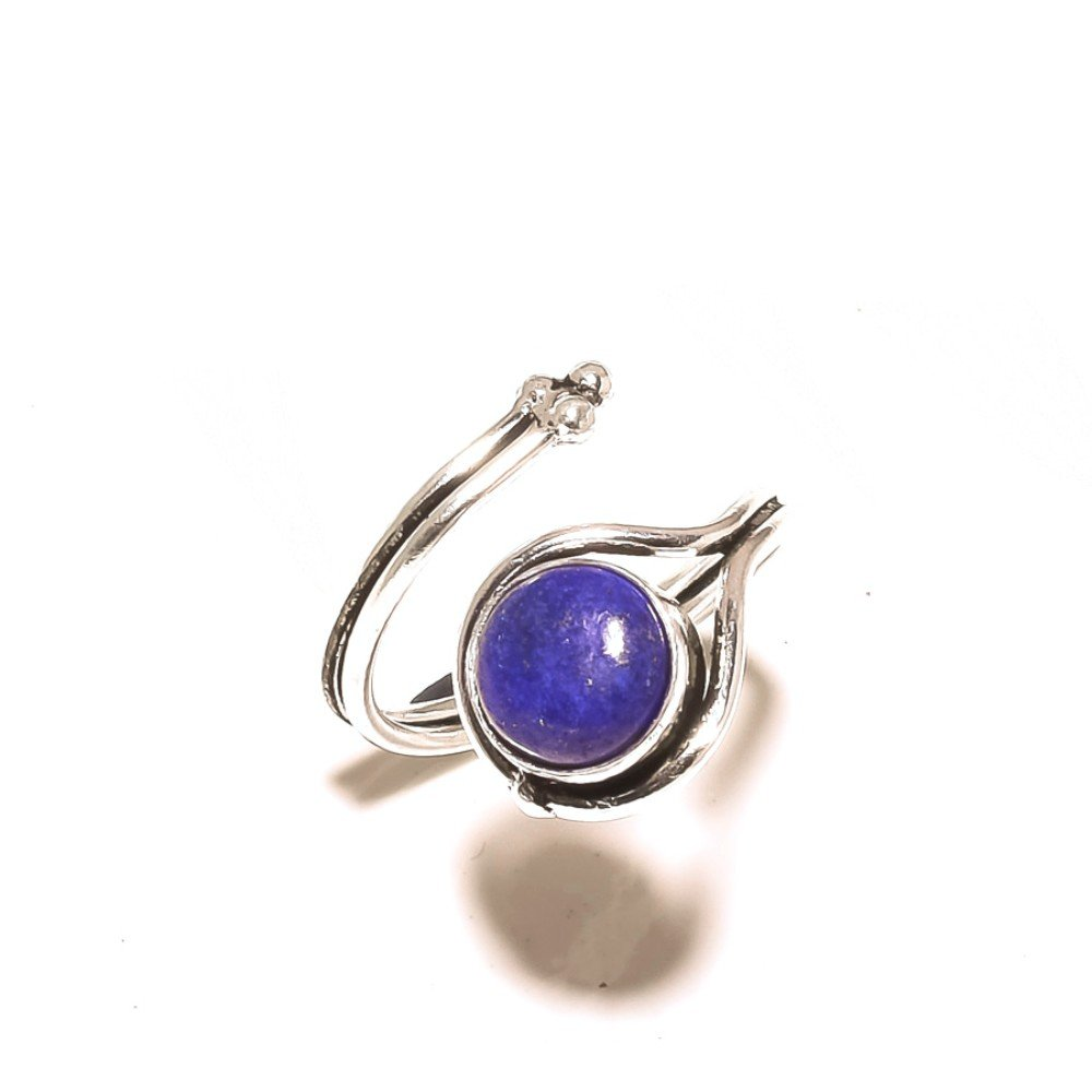 Gorgeous Blue Lapis Lazuli Sterling Silver Overlay 4 Grams Ring Size 6.5 US Sizable