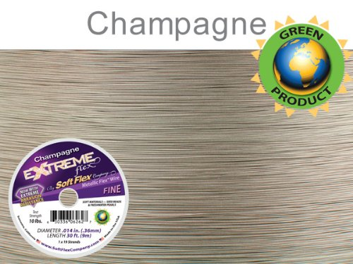 Soft Flex Extreme Bead Wire, Champagne, 0.014 Inch, 30 Feet | BDC-780.01 Extreme Beading Wire