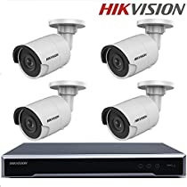 Hikvision Original English H.265 CCTV System 4K H.265 NVR DS-7608NI-K2/8P 8CH 8POE + DS-2CD2085FWD-I 8MP Network Bullet Camera 120dB Wide Dynamic Range + Seagate 2TB HDD (8 Channel + 4 Camera, 8MP)