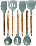 #7: Silicone Cooking Utensils Kitchen Utensil set - 7 Natural Acacia Wooden Silicone Kitchen Utensils Set - Silicone Utensil Set Spatula Set - Silicone Utensils Cooking Utensil Set - Kitchen Tools Gadgets