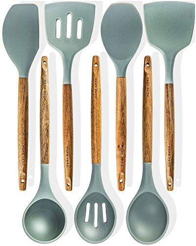 Silicone Kitchen Utensils - Silicone Cooking Utensils Kitchen Utensil set - 7 Natural Acacia Wooden Silicone Kitchen Utensils Set - Silicone Utensil Set Spatula Set - Silicone Utensils Cooking Utensil Set - Kitchen Tools Gadgets