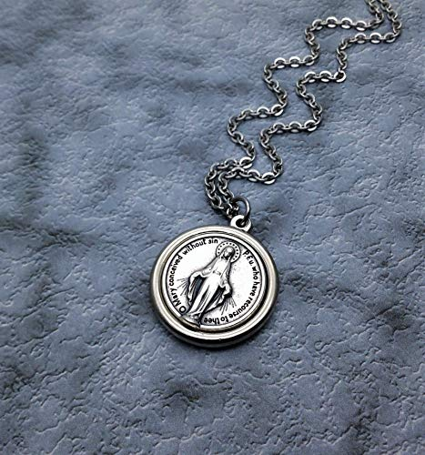 (Silver Plated Round Thick Miraculous Medal Necklace for Women)