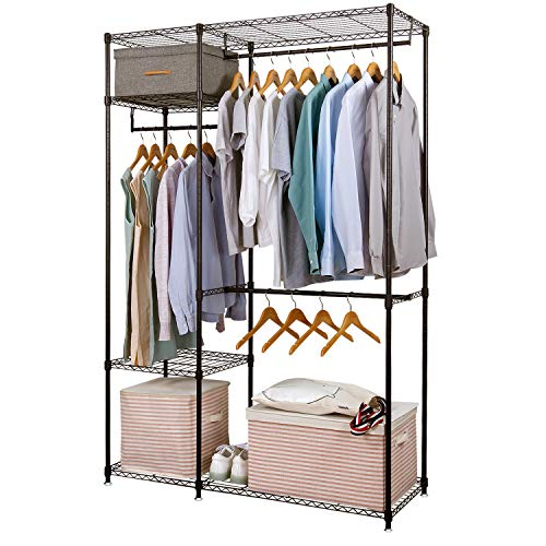Freestanding Garment (Lifewit Free-Standing Closet Garment Rack Heavy Duty Clothes Wardrobe Rolling Clothes Rack Closet Storage Organizer with Hanger Bar Black)