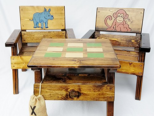 (Kids Jungle Safari Game Table and Chairs Set, Indoor/Outdoor Furniture, Engraved & Painted Folk Art)