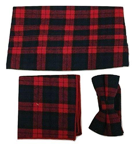 L&L® 3 Pcs Set Tartan Bow Tie + Cummerbund + Pocket Square Hanky Cotton UK