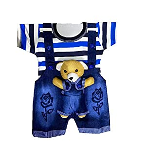 TENDERCARE Baby boy & Baby Girl Denim Dungaree Set with Tshirt || Dress and Clothes for Baby boy & Baby Girl (0-6 Months)