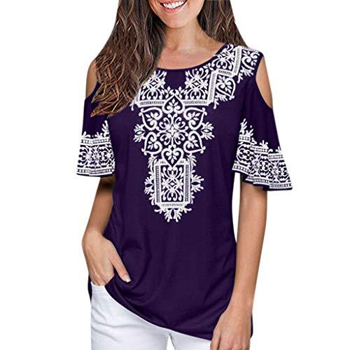 Women Summer Short Sleeve Shirts Round Neck Cold Shoulders Boho T-Shirt Tops Purple