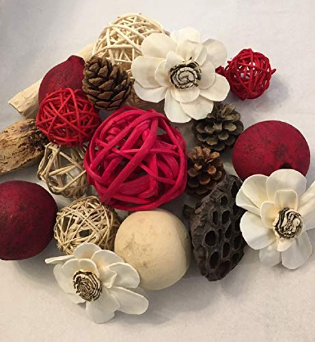 Wreaths For Door Red Rattan Decorative Spheres Natural Twig Balls and Botanical Pods Vase Or Bowl Filler Traditional to Farmhouse (Tall Vase Rattan)