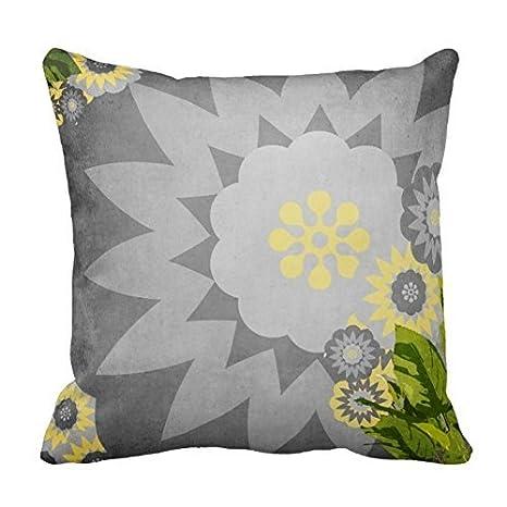 baihis Funda de cojín con diseño de flores en gris y ...