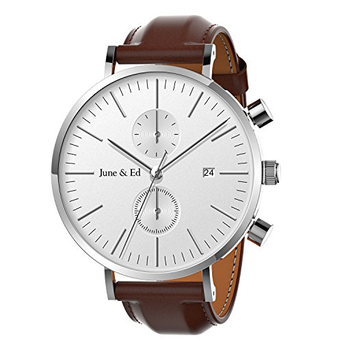 June & Ed Men's Wrist Watch Leather Band Casual Classic Quartz Watch with Sapphire Crystal Dial Window and Date / Chronograph / Waterproof Function - (Sapphire Mens Chronograph)