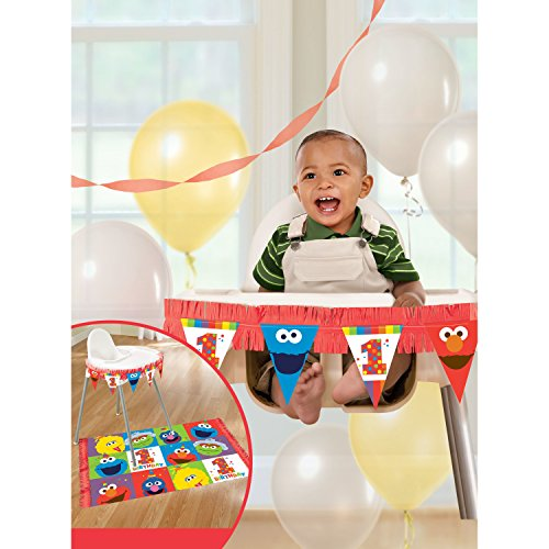 amscan 1st Birthday High Chair Decorating Kit Party Supplies Elmo Sesame Street Fun to Be One! One Size, Multicolor ()