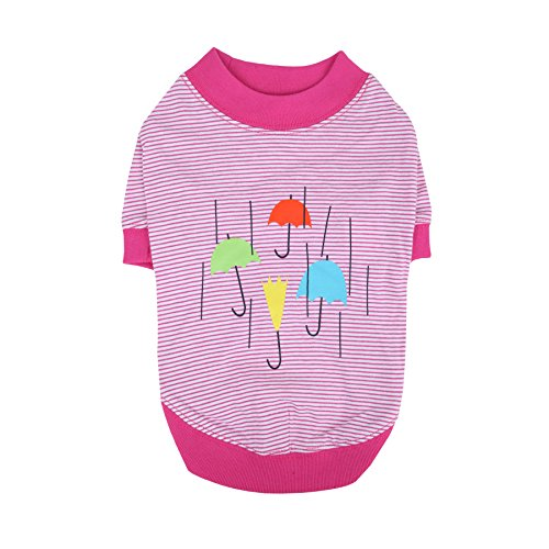 Puppia Rainy Day Round Neck T-Shirt, Medium, Pink by Puppia