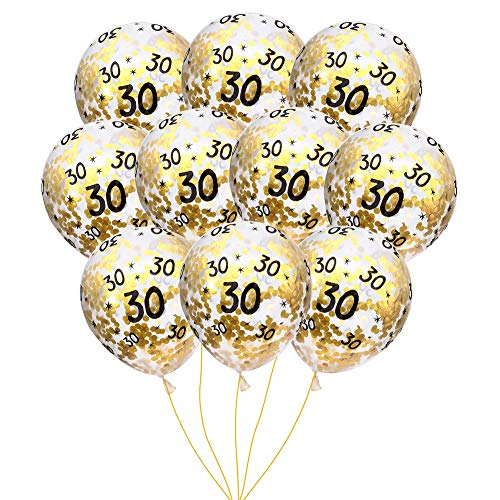 MeySimon 30th Birthday Decorations 15pcs Clear Balloons with Gold Confetti Filled Printed 30 Latex Balloon for Happy Thirty Year Old Theme Bday Party Supplies (30th Confetti)]()