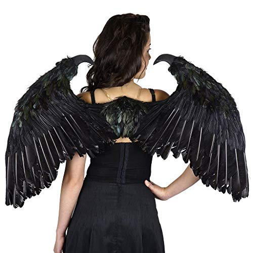 Maleficent Inspired Black Feather Wing - Fallen Angel Halloween Costume -