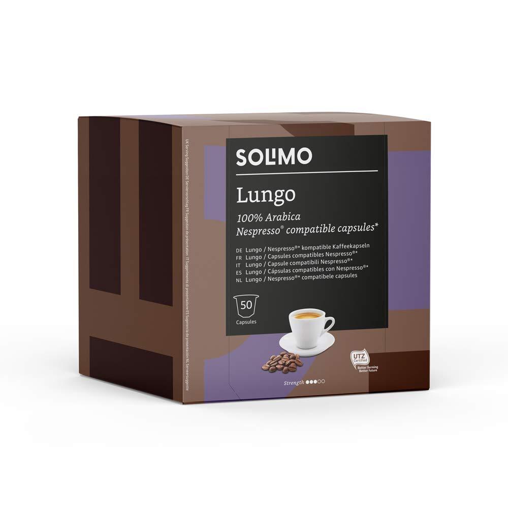 Amazon Brand - Solimo Nespresso Compatible Lungo Capsules - UTZ Certified - 100 Capsules (2 Packs x 50)