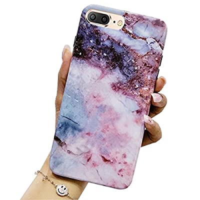 iPhone 8 Plus Case, iPhone 7 Plus Case, Jwest Marble Design Pink Geometric Anti-Scratch &Fingerprint Shock Proof Thin Non Slip Matte Back Hard Protective Cover for Apple iPhone 7 Plus / iPhone 8 Plus