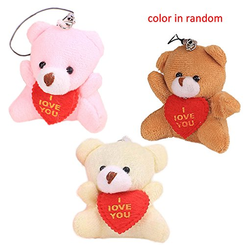 Cute&Creative Cartoon Bear Plush Teddy Bear Doll Plush Joint Bag Hanging Toys,Mobile Phone Pendant Stuffed Animal Key Chain Plush Toy,2 In Nice Gift for Friends Children(3Pcs,Random Color)