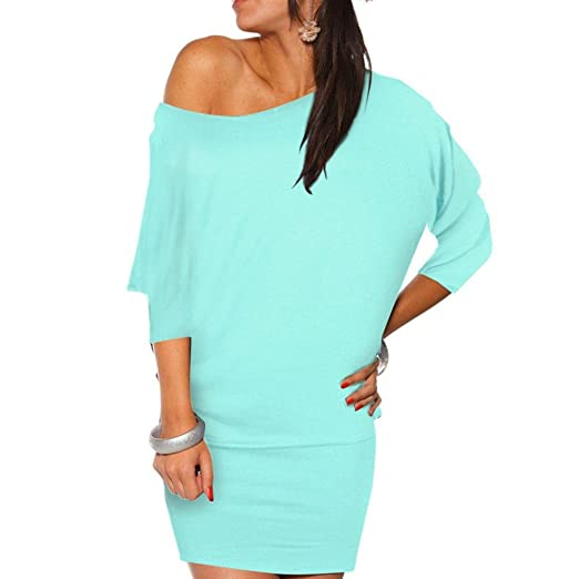 278a78c1eb92 Yoyorule Sexy Womens Off Shoulder Long Sleeve Mini Batwing Tunic Dress Top  (XXL
