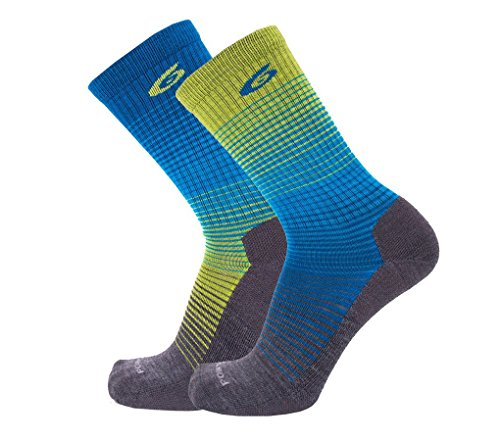 Point6 Active Life Rise, Extra Light Crew sock - X Large, Lime with a Helicase sock ring