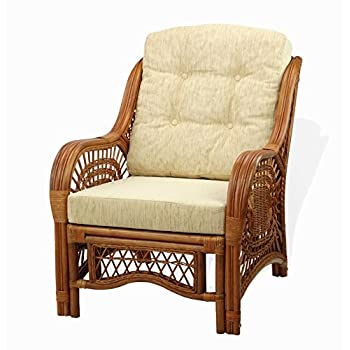 Malibu Lounge Armchair ECO Natural Rattan Wicker Handmade Design with Cream Cushion, Colonial (Light Brown)