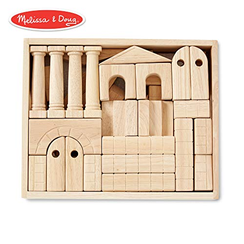 Melissa & Doug Architectural Unit Blocks (44 Building Blocks in 11 Shapes, Solid - Building Castle Blocks Wooden