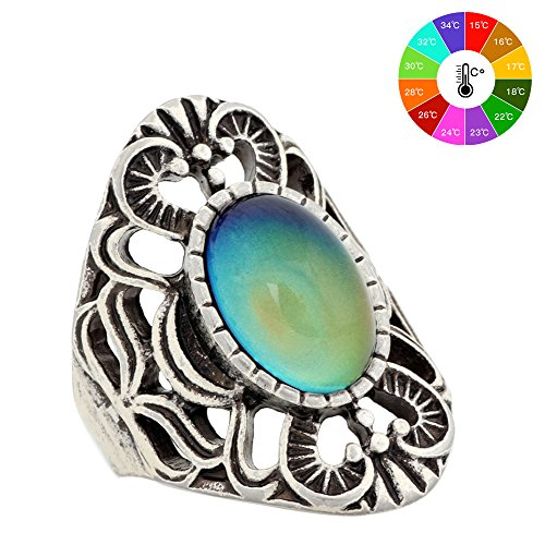 Mood Ring Handmade Zinc Alloy Antique Sterling Silver Plated Oval Shape Temperature Sensing Color Changing Stone Finger Big Rings for Women Fashion RS013