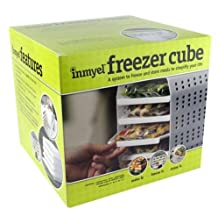 Inmyel Freezer Cube, A system to freeze and store ready to heat-and-eat meals in zipper closure freezer bags.