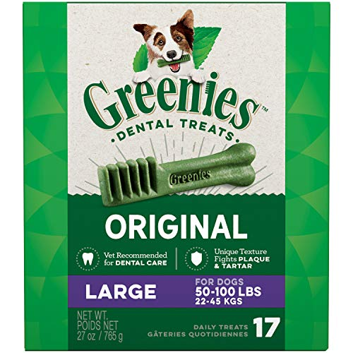 (GREENIES Original Large Natural Dental Dog Treats, 27 oz. Pack (17)