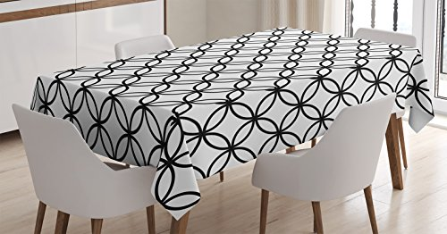 Ambesonne Geometric Circle Tablecloth, Minimalist Monochrome Interlace Circle Pattern Modules Abstract Style, Dining Room Kitchen Rectangular Table Cover, 60