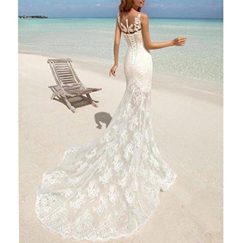 Dimei Abiti Sirena Sposa Sposa Del Donne Abito Da Da Gioiello Per Sweep Da Neck La Merletto Treno Spiaggia Bianco Delle 2018 Sposa aaw06