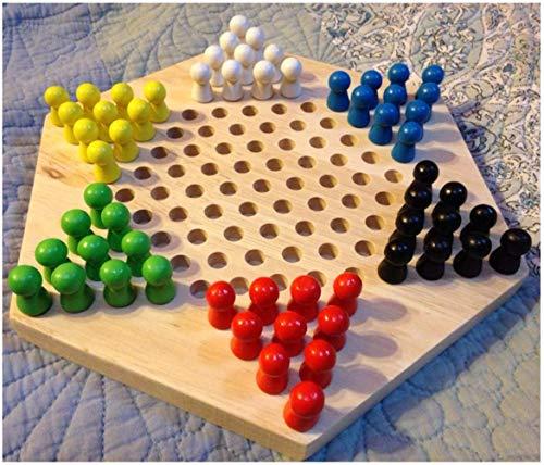 [해외]mrGood 전통적인 육각형 목 제 중국 체커 가족 게임 세트 / mrGood Traditional Hexagon Wooden Chinese Checkers Family Game Set