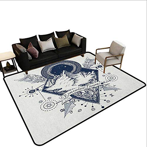 (Conference Room Carpet Adventure,Mountains in Boho Tattoo Style with Crossed Arrows and Astrological Symbols, Dark Blue)