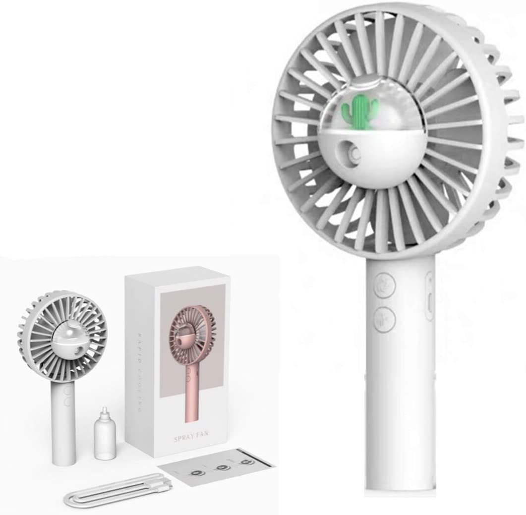 Upper Commerce 2020 Unique Fashionable Mini Portable Misting Fan. Portable Spray Hand Fan Humidifier for Hot Cooling. Multiple speeds Handheld Mist Fan with USB Rechargeable Battery.