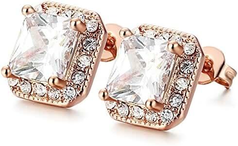FUNRUN JEWELRY 18G Cubic Zirconia Stud Earrings for Women Men Earrings Square Shape
