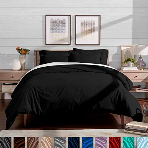 Bare Home Duvet Cover and Sham Set - Full/Queen - Premium 1800 Ultra-Soft Brushed Microfiber - Hypoallergenic, Easy Care, Wrinkle Resistant (Full/Queen, Black)